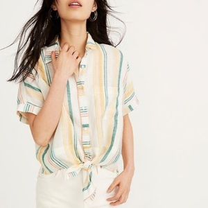 Madewell Pineapple Stripe Linen Tie Front Shirt